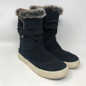 Toms Black Suede Winter Boots 7 Women